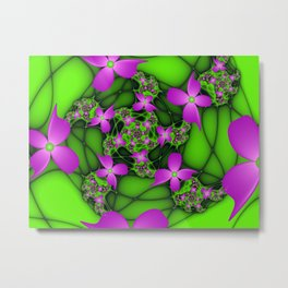 Fantasy Flowers Neon Colors Fractal Metal Print