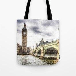 Westminster Bridge London snow Tote Bag