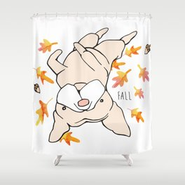 Fall Frenchie Shower Curtain