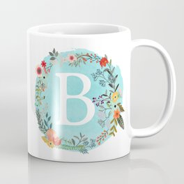 Personalized Monogram Initial Letter B Blue Watercolor Flower Wreath Artwork Coffee Mug