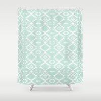 navajo Shower Curtains featuring Mint Navajo by Kimsa
