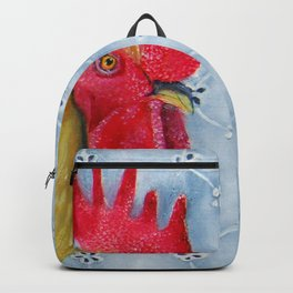 Humm and Peck Rooster Hummingbird Painting Backpack