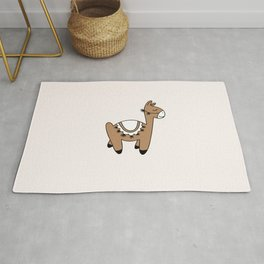 Sweet kawaii Llama dreams kids winter alpaca illustration caramel Rug
