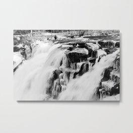 Winter rushing falls Metal Print