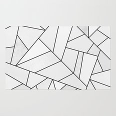 White Stone / Black Lines Rug