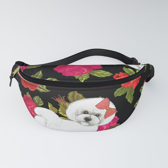 Bichon Frise dogs red rose floral for dog lovers Fanny Pack