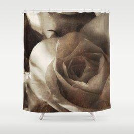 rose bloom tintype Shower Curtain