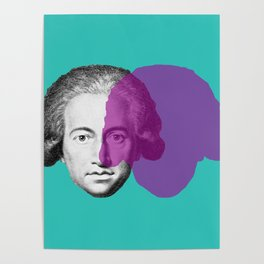 Goethe - teal and purple portrait Poster