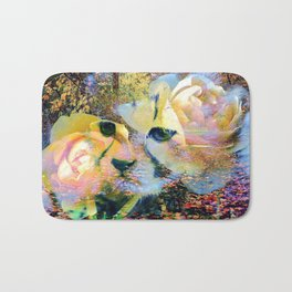 Baby Cheetah In Woods With Roses By Annie Zeno  Bath Mat