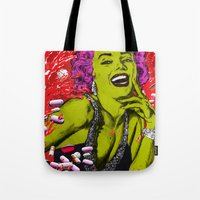"marylin monroe Tote Bags featuring We died for you ""Marylin Monroe"" by Olivier Dressen aka ""HERO"""