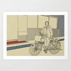 Grandpa and his bicycle Art Print