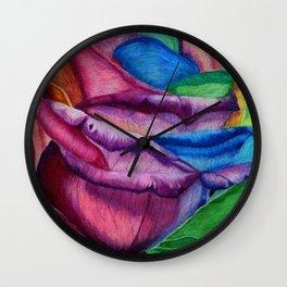 Open Up (Rainbow Rose) Wall Clock
