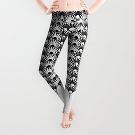 black and white art deco inspired fan pattern Leggings