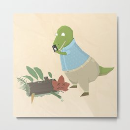 Hipster Dinosaur Instagrams his Vegan Lunch Metal Print