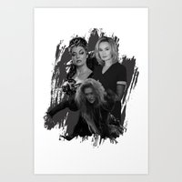 jessica lange Art Prints featuring The Witches - Susan Sarandon, Jessica Lange and Meryl Streep by BeeJL