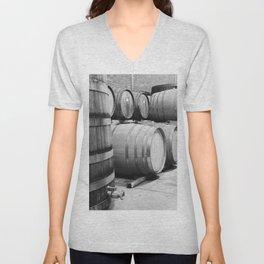 Wine barrels in Wine Estate Cellar Unisex V-Neck