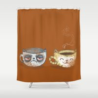 cup Shower Curtains featuring Grumpy Cup, Happy Cup by Ma. Luisa Gonzaga