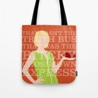 pushing daisies Tote Bags featuring Pushing Daisies - Olive by MacGuffin Designs