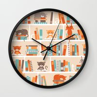library Wall Clocks featuring Library cats by Heleen van Buul