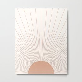 Sunburst Minimal Sun, Terracotta, Mid Century Abstract Art, Boho  Decor Metal Print