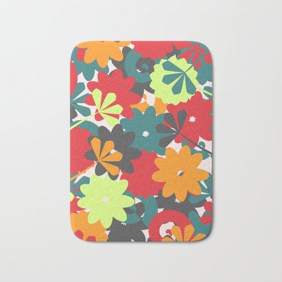 Colorful floral garden Bath Mat