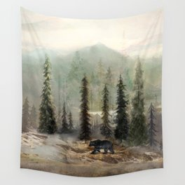 Mountain Black Bear Wall Tapestry