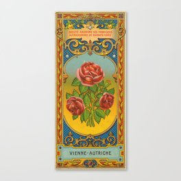Vintage Fez Label with Roses Canvas Print
