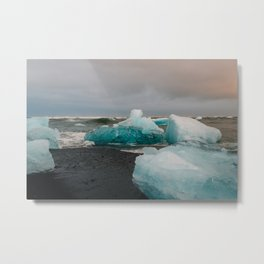Sunset at the Glacier Lagoon in Iceland Metal Print