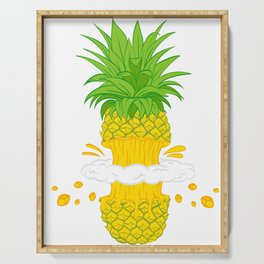 Fruit Cool Pineapple Graphic T-shirt Cutted Half Spin Smoking Cool Cute Design For You And Family Serving Tray