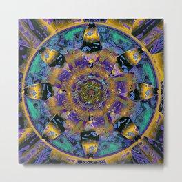 Purple Gold Dream Catcher Mandala Metal Print