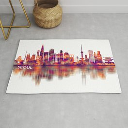 Seoul South Korea Skyline Rug