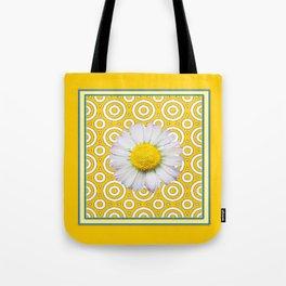 Golden Modern Art Deco Shasta Daisy Pattern Art Tote Bag