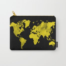 Yellow and black world map Carry-All Pouch