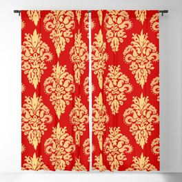 Red and Gold Classic Damask Pattern Blackout Curtain