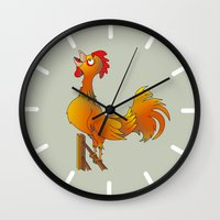 rooster Wall Clocks featuring Rooster  by mailboxdisco