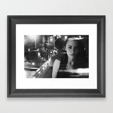 girl in restaurant Framed Art Print