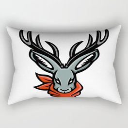 Jackalope Wearing Bandanna Mascot Rectangular Pillow