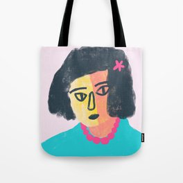 Woman with Pink Beads Tote Bag