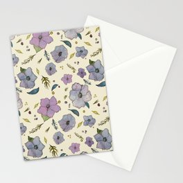 Periwinkle Floral Pattern Stationery Cards