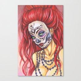 Redhead Sugar Skull by Gemma Pallat Canvas Print