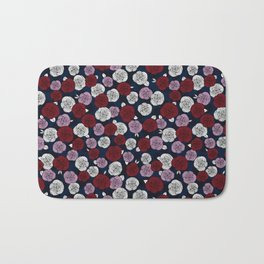Roses in navy blue, orchid and burgundy red Bath Mat