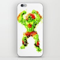 street fighter iPhone & iPod Skins featuring Street Fighter II - Blanka by Carlo Spaziani
