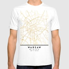 WARSAW POLAND CITY STREET MAP ART Mens Fitted Tee White MEDIUM
