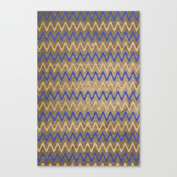 Blue and Tan Zigzag Stripes on Grungy Brown Burlap Graphic Design Canvas Print