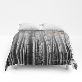 Red Cardinals in Birch Forest A128 Comforters