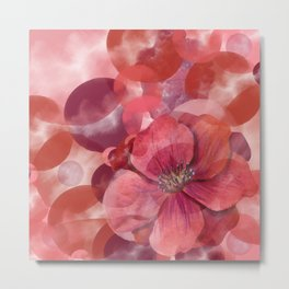 Abstract Autumn Colors and Flower Metal Print
