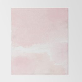 Pastel pink white modern hand painted watercolor. Throw Blanket