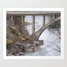 Old Bridge Over River, Vintage Concrete Bridge Art Print