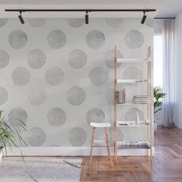 Silver Polka Dots Wall Mural
