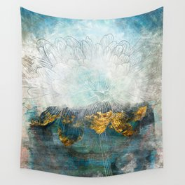 Lapis - Contemporary Abstract Textured Floral Wall Tapestry